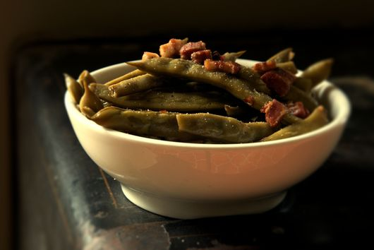 Long Cooked Romano Beans with Pancetta