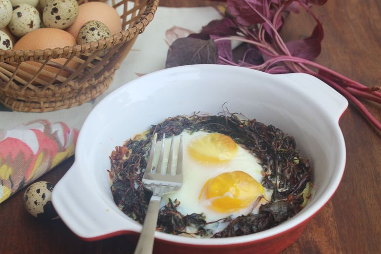 BAKED EGGS WITH PURPLE AMARANTH