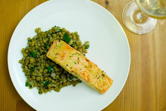 Dijon Salmon with French Lentils
