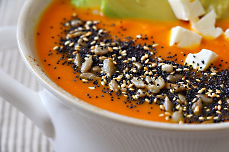 Roasted Carrot Soup with Avocado Feta and Toasted Seeds