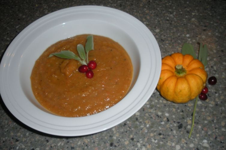 Pumpkin Soup with Cranberries & Sage