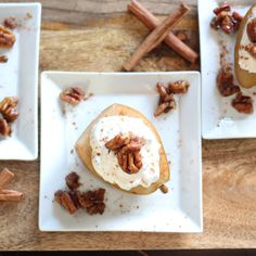 Earl Grey Poached Pears w/ Whiskey Pecans & Maple Whipped Cream
