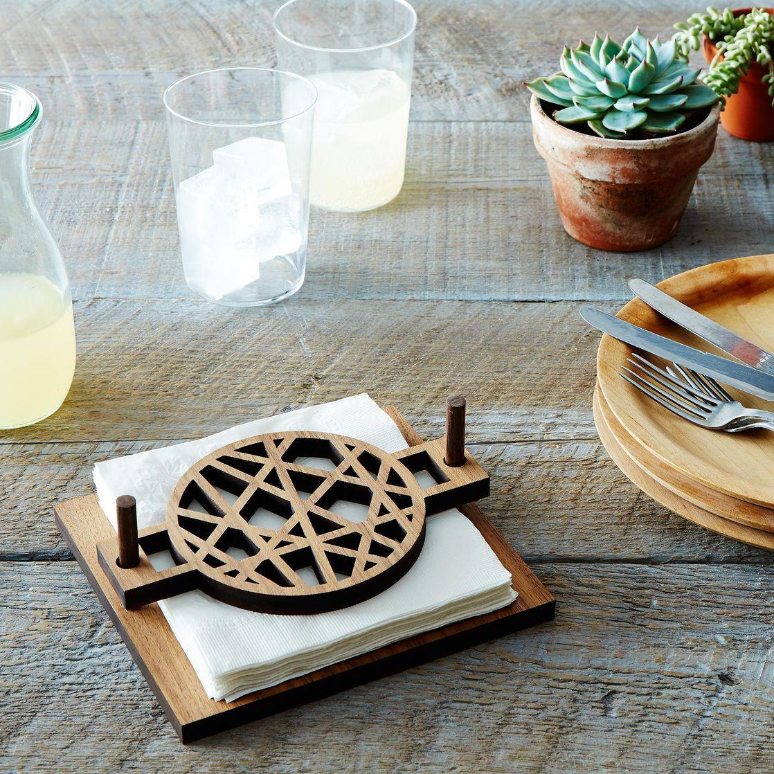 midcentury modern napkin holder on food - midcentury modern napkin holder