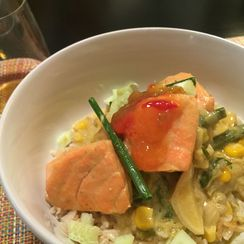 Salmon with Summer Vegetables in Green Curry