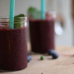 A boozy Blueberry Pea Mojito Slushy
