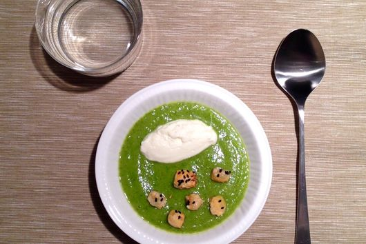 Zucchini cream with Parmigiano mousse and Sesam Parmigiano croutons