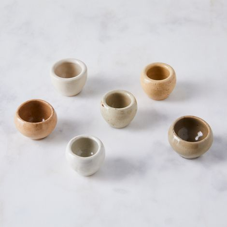 Vintage French Ironstone Escargot Pots (Set of 6)