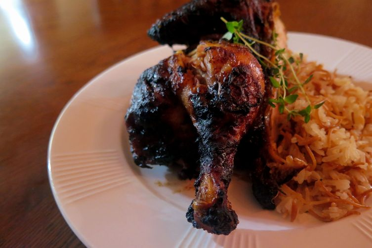 Roasted Date Chicken with Vermicelli Rice