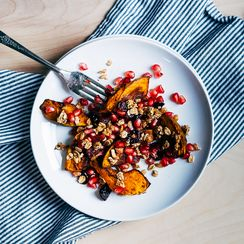 Roasted Squash Salad with Pomegranate and Spiced Oat Clusters