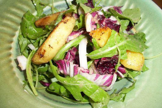 Radicchio, arugula, apple salad with warm bacon dressing