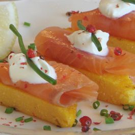 Smoked Salmon with Grilled Polenta and Pink Peppercorns