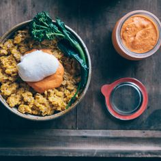 Savory Oats with Roasted Red Pepper Sauce, Baby Broccoli and Poached Eggs