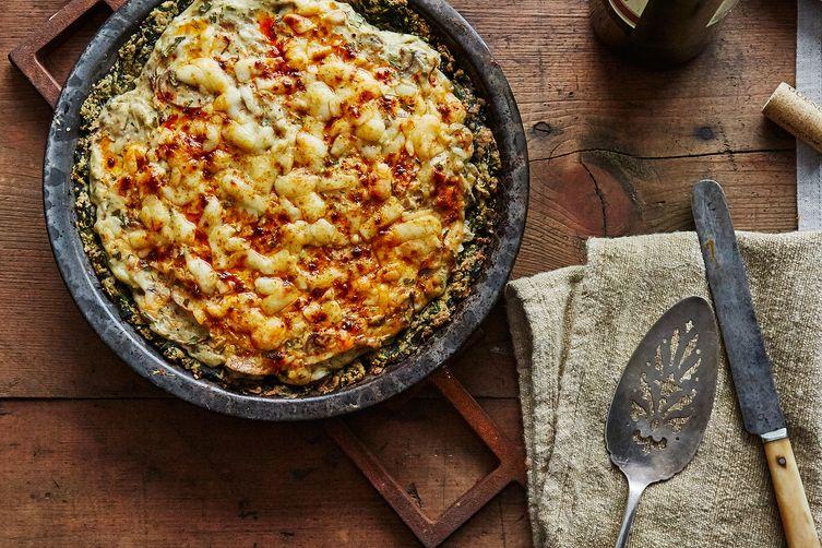 Mollie Katzen's Mushroom Yogurt Pie with Spinach Crust