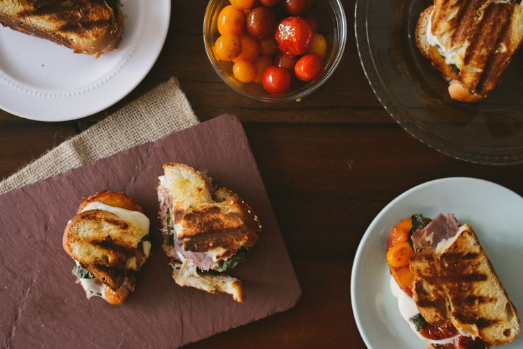 Salty Caramelized Peach Caprese Challah Panini