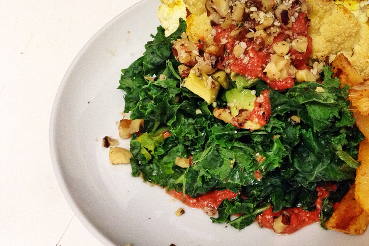 "Massaged Kale Salad with Roasted Cauliflower ""Steaks"""