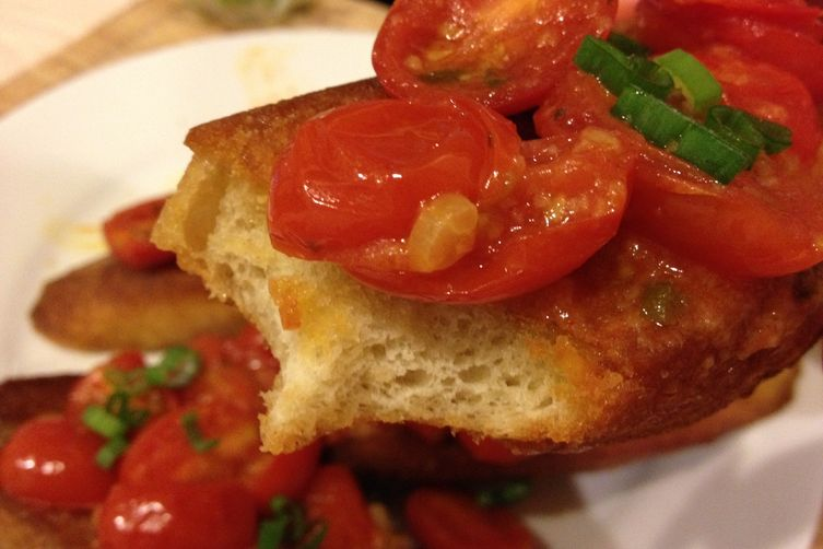Warm Bruschetta of Tomatoes, Scallions, Olive Oil and Basil on Toasted Baguette