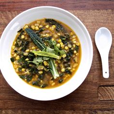 Sweetcorn Soup with Kale & Ginger