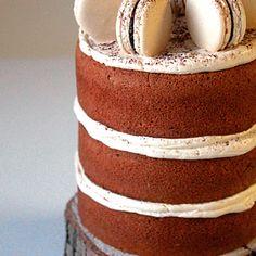 Espresso cake with espresso macarons