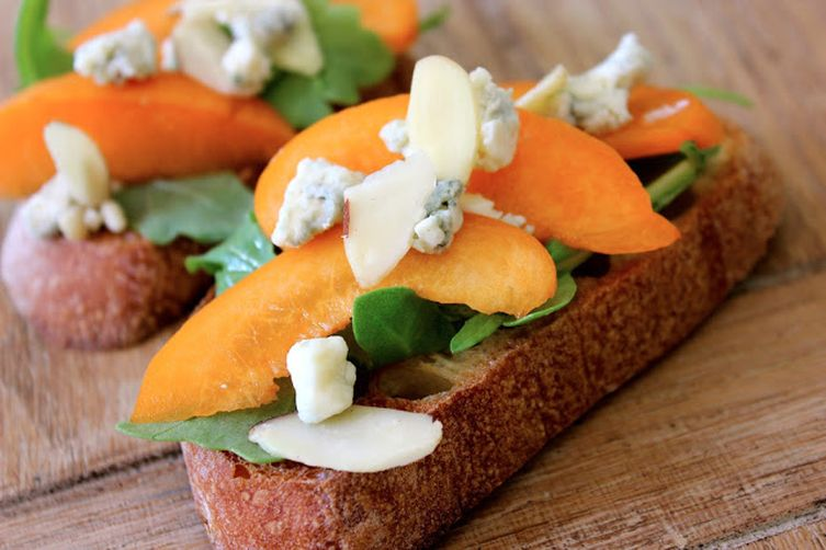 Stone Fruit and Cheese Crostini