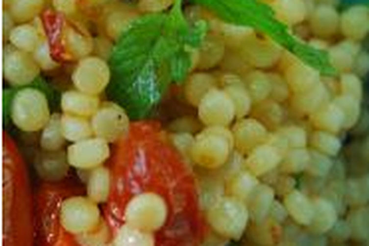 Pearl Couscous with Slow Roasted Cherry Tomatoes, Parsley, Olives and Mint