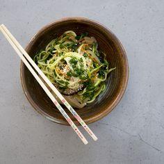 Gluten-free vegan zucchini noodle japchae