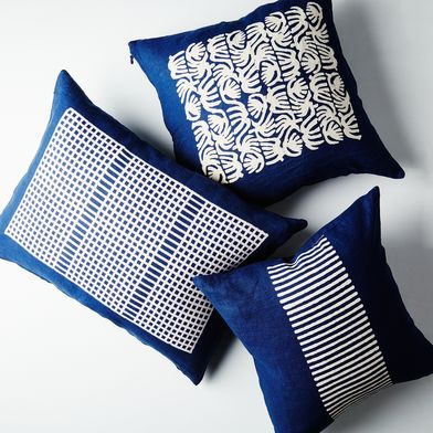 Indigo Dyed Linen Pillow