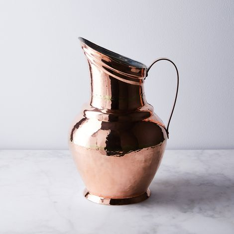 Vintage Copper French Bellied Large Pitcher, Mid 19th Century