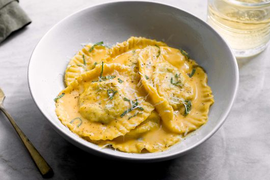 Venison Ravioli With Roasted Butternut Squash Sauce
