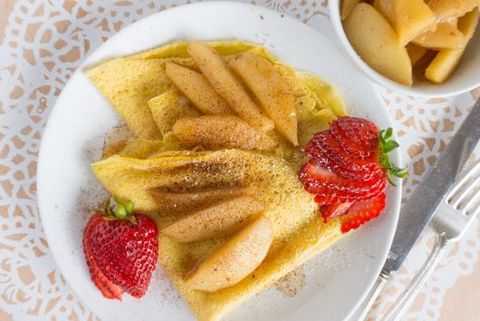 French Breakfast Crepes with Spiced Apple Compote