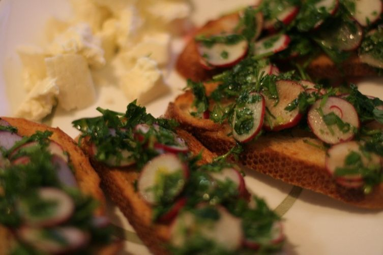 Radish and Parsley Salad with Sourdough Toasts