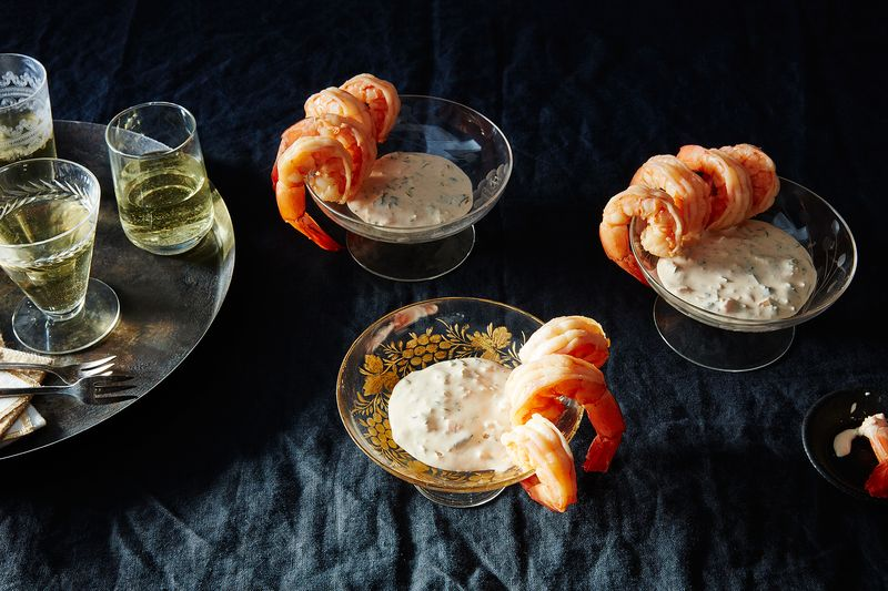 Louisiana shrimp just hanging, waiting for a dip in the creole-spiced remoulade.