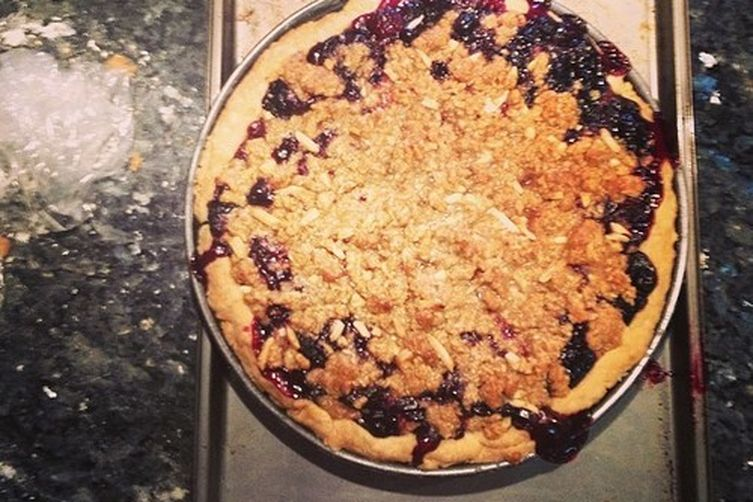 Black & Blueberry Bourbon Crumble Pie