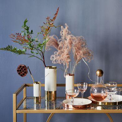 Copper, Brass, and Enamel Louise Vases