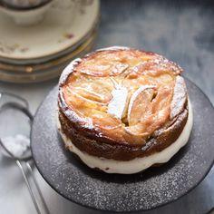 upside down apple - polenta - cake with creamy mascarpone - calvados - filling