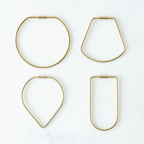 Brass Contour Key Ring Sets