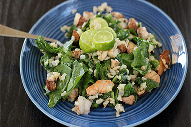Mushroom, Spinach, and Brown Rice Salad
