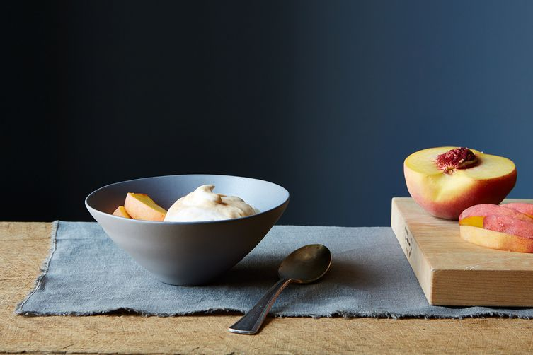 Apricot Fool with Fresh Peaches
