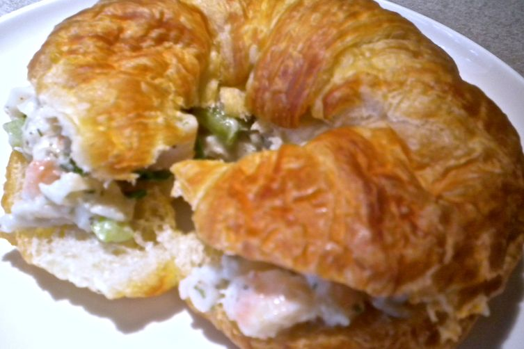 "Shrimp Salad on a Croissant with White Bean ""Mayo"""