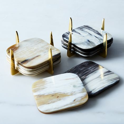 Pure Brass & Horn Coasters (Set of 4)