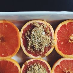 Broiled Grapefruit with Rosemary & Sea Salt