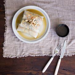 Cheat's vegan banh cuon chay | Quick Vietnamese steamed rice rolls {gluten-free}