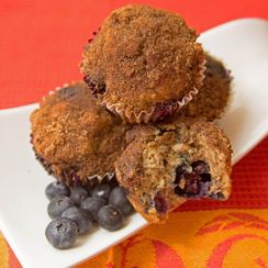 Fresh Banana and Blueberry Muffins with Streusel Topping