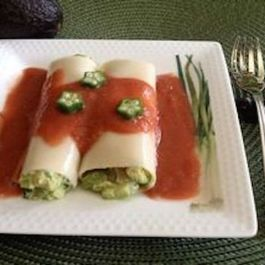 Tuna Avocado Okra Cannelloni with Red-Shiso Gazpacho