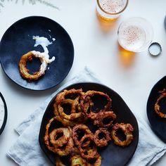 Pakora Fried Onion Rings with Kefir-Cucumber Raita