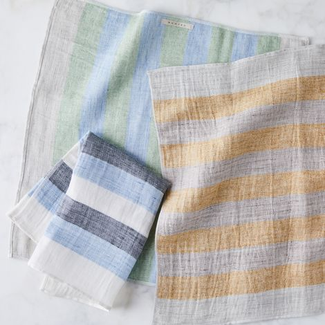 Striped Japanese Linen Tea Towels