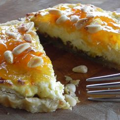Goat Cheese Tart with Mango Habanero Jam