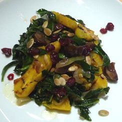 Warm Salad of Squash, Chestnuts and Collard Greens