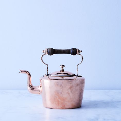 Vintage Copper Oval Tea Kettle With Wood Handle, Mid 19th Century