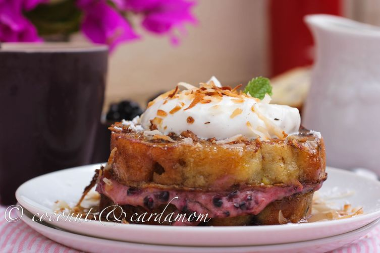 Blueberry Pound Cake Stuffed French Toast with Toasted Coconut and Blackberries