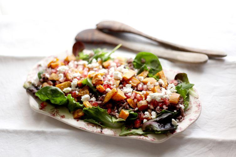 Roasted sweet potato, wild rice, pomegranate and feta salad Recipe on ...